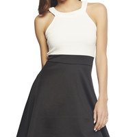 Halter Contrast Skater Dress | Wet Seal