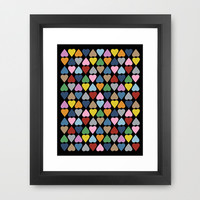 Diamond Hearts on Black Framed Art Print by Project M