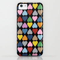 Diamond Hearts on Black iPhone & iPod Case by Project M