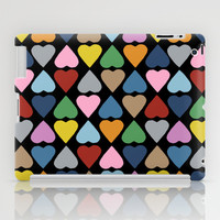 Diamond Hearts on Black iPad Case by Project M