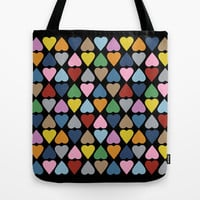 Diamond Hearts on Black Tote Bag by Project M