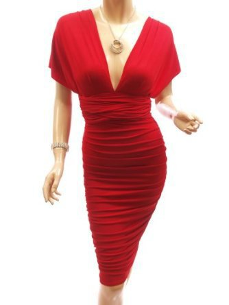 Patty Women Convertible V Neck / One Shoulder Open Back Ruched Evening Dress
