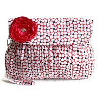 Clutch in Black and Red Flower Clutch Purse Wristlet by Oyeta
