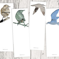 bird silhouette bookmark set, seagull digital collage art, set of 4, library decor, animal art, woodland decor, gray blue unique bookmarks
