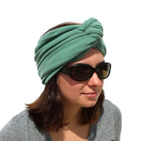 LIGHT GREEN Turban Infinity Scarf - All in One - Green Headband - Petite Infinity Scarf