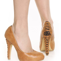 Yoki Alani Camel and Leopard Corset Back High Heels