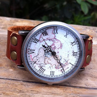 Retro Unique World Map Leather Watch