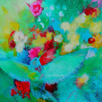 "Acrylic Animal Painting 20x20 Canvas Green Blue ""Hummingbird and Flowers"""
