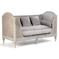 Palais French Country Grey Lavender Painted Cane Day Bed