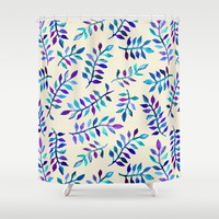 Hand Painted Purple & Aqua Leaf Pattern on Cream Shower Curtain by micklyn