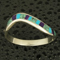Silver hinged bracelet inlaid with sugilite and turquoise. | HilemanSilverJewelry - Jewelry on ArtFire