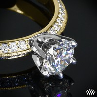 "18k Yellow Gold with White Gold Head ""Knife-Edge Pave"" Diamond Engagement Ring"