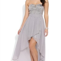 Strapless Sequin Dress with Flyaway Chiffon Skirt