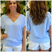 Double Take Blue V-Neck Top