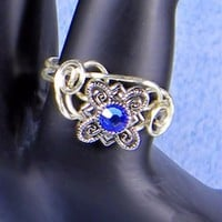Swarvoski Crystal Wire Sculptured Artisan Silver Cocktail Ring | AmeliaOriginals - Jewelry on ArtFire