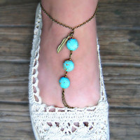 turquoise anklet with feather unique anklet ankle by alapopjewelry
