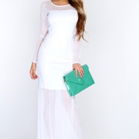 White Mesh Long Sleeve Maxi Dress
