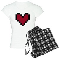 CafePress Pixel Heart Women's Light Pajamas Women's Light Pajamas