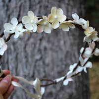Ivory Cherry Blossom Flower Wreath  Hanami  by HoneyandLaceDesigns