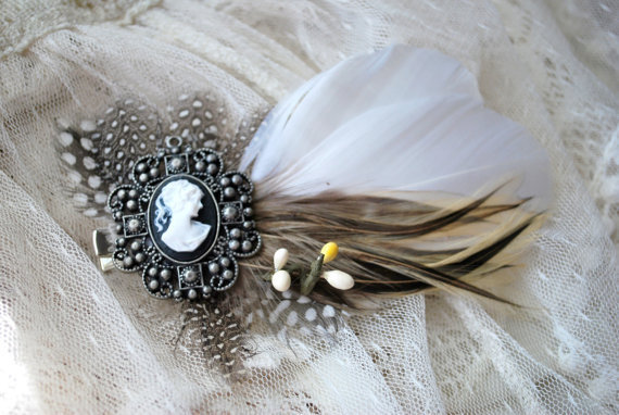 Mrs Darcy  Feather hair clip by HoneyandLaceDesigns on Etsy