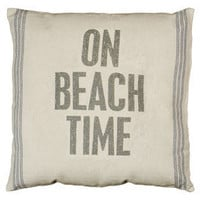 On Beach Time Linen Pillow | OceanStyles.com