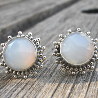 Moonstone Stud Earrings- Moonstone Silver Earrings- Post Earrings- Moonstone Earrings- Silver Earrings- Stone Earrings- Gemstone Earrings