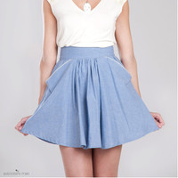 Blair Oxford blue skirt Organic cotton and by SimonesRoseBoutique