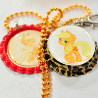Apple Jack pony bottle cap keychain and necklace set with gold ball chain