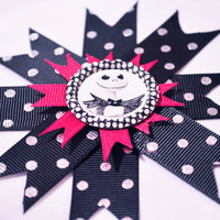 Jack Skellington spiky bow with polka dot cap on clip or headband