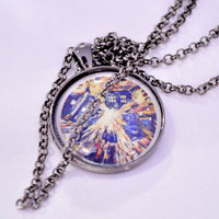 Doctor Who Tardis Van Gogh style image in pendant under glass