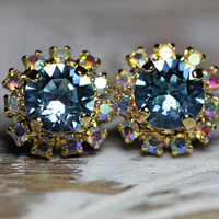 Easter sale! Multicolor and blue stud earrings with genuine Swarovski Rhinestone crystal, Bridesmaids jewelry, Vintage earrings