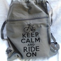 Keep Calm Ride On Bag Gray Backpack Drawstring Canvas Bicycle Bike | bagnabitbags - Bags & Purses on ArtFire