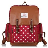 Logo Polka Dots Buckle Backpack Shoulder School Bag