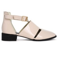 New Rome Glossy Nude Ankle Strap Shoes