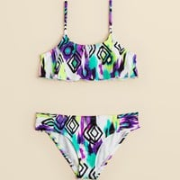 AQUA Girls' Ikat Crop 2-Piece Swimsuit - Sizes 7-14