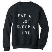 Green Turtle - EAT A LOT SLEEP A LOT Black Medium Sweatshirt