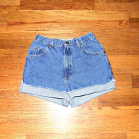 Vintage Denim Cut Offs - 90s Classic Stone Washed Jean Shorts - High Waisted Cut Off/Frayed/Rolled up ZENA Short Shorts Size 7/8