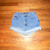 Vintage Denim Cut Offs - 90s Classic Stone Washed Jean Shorts - High Waisted Cut Off/Frayed/Rolled up Jones New York Short Shorts Size 9/10