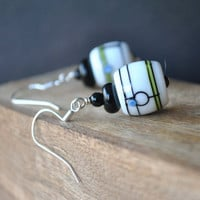 White Artisan Earrings, Lampwork Earrings, Geometric Earrings, Glass Earrings, Black Green Earrings
