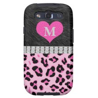 Black, Diamonds, Pink Leopard Samsung Galaxy Cases