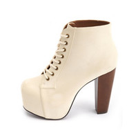 LACE-UP WOODEN HEEL BOOTIE