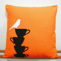 White Bird Resting On Teacups Bright Orange Pillow Cover. Tea Time | SmilingCloud - Housewares on ArtFire