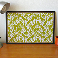 Chartreuse Leaf Print Cork Board by TerraCasa on Etsy