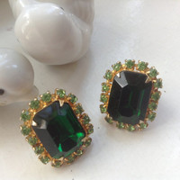 Emerald Rhinestone Earrings Peridot large rectangular stones clip-ons vintage sparkling goldtone Prom Wedding Bridal Festive jewelry gift