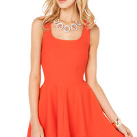 Pique Zip Back Flared Dress in Orange Coral