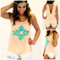 Watercolor Waves Peach Sequin Aztec Tank