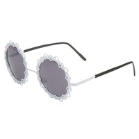 Metal Lace Round Sunglasses | Wet Seal