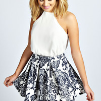 Mila Box Pleat Skater Skirt