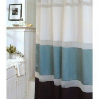Veratex Marin Shower Curtain in Pearl, Agua and Chocolate - 435577 - Shower Curtains & Accessories - Bed & Bath