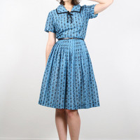 Vintage Blue Black Dress Tulip Print Dress Day Dress Full Sweep Skirt Mad Men Dress Lucy Dress Betty Dress 50s Dress 60s Dress Midi S Small